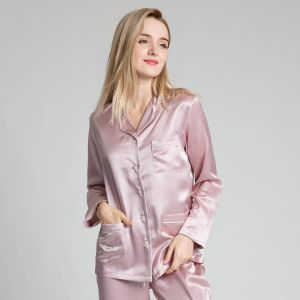 22 Momme Rose Blush Long Sleeve Silk Pyjama Sets from Silk Only