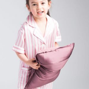 Luxury Silk Contrast Piping Children Pajamas Set2 Colors