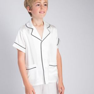 Luxury Silk Contrast Piping Children Pajamas Set Milky White
